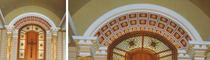 Segmental Coffered Canopy manufactured and installed by Capital Plaster Mouldings, Cork for St. Mary's Church, Mallow